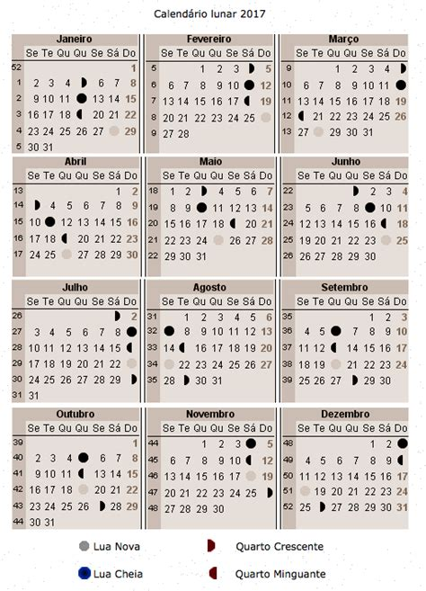 Calendario Lunare Calend 225 Lunar 2017 A Gravidez