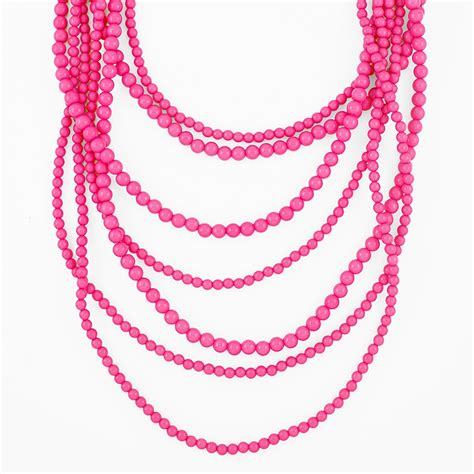 pink necklace seven strand layered bead necklace pink statement