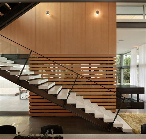 Casual Dining Room Lighting mid century stair railing staircase modern with glass