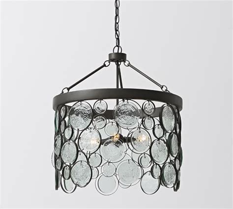 recycled glass chandeliers emery indoor outdoor recycled glass chandelier pottery barn