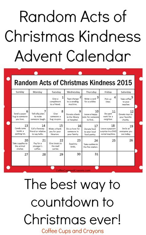 printable advent calendar pinterest random acts of christmas kindness printable advent