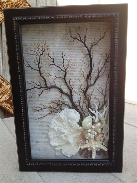 sea fan shadow box black sea shell sea fan and coral shadow box shabby so