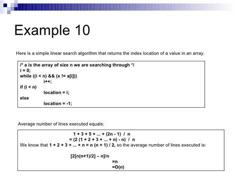 Linear Search Average Analysis Of Algorithms I