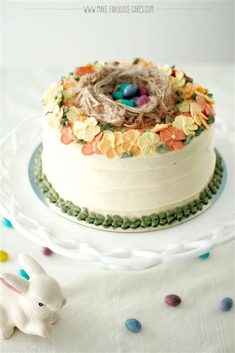 easter cake buttercream blossoms  birds nest
