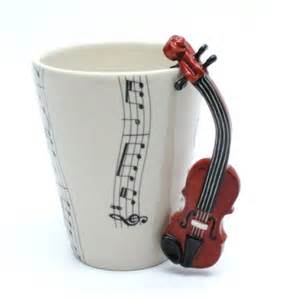 violin mug ceramic coffee cup handmade home decor music lover gifts