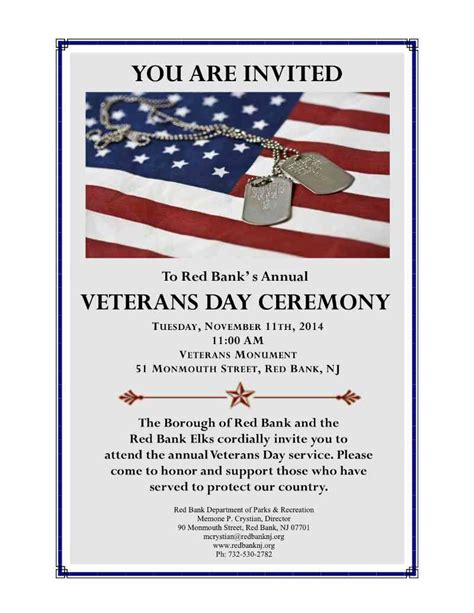 Veterans Day Ceremonies 2014 Red Bank Green Veterans Day Program Template