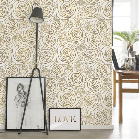 Peel N Stick Wallpaper | gold roses wallpaper peel and stick