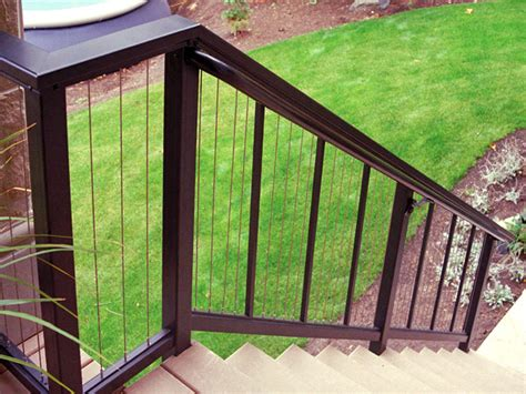aluminum railings with vertical cable infill feeney