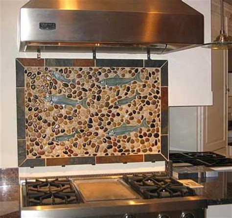 pebble backsplash charcoal black pebble tile river rock tile pebble tiles