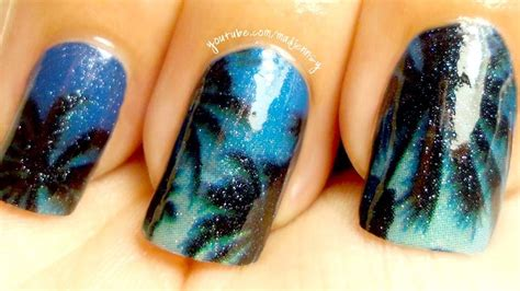 Palm Tree Nail Sticker sky palm trees nail tutorial nails