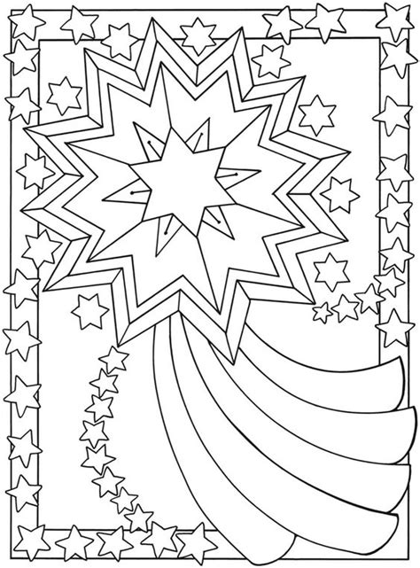 star moon coloring page welcome to dover publications from let s color together