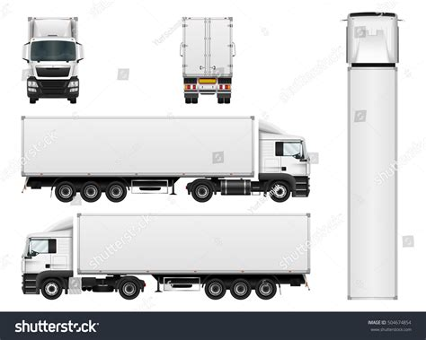 Vector Truck Trailer Template Isolated On Stock Vector 504674854 Shutterstock Trailer Templates Free