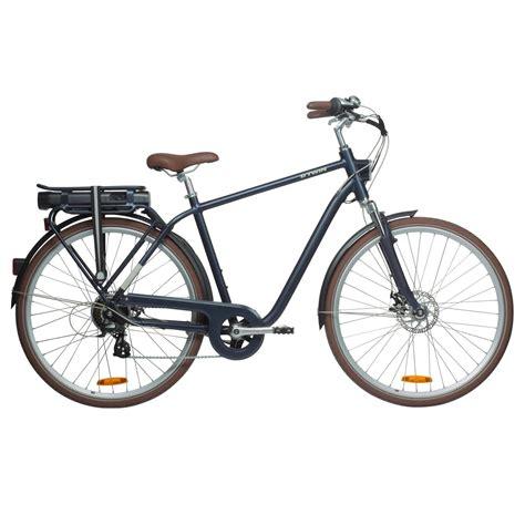 btwin elektrische fiets  bike elops  hoog frame stadsfiets marineblauw decathlonnl