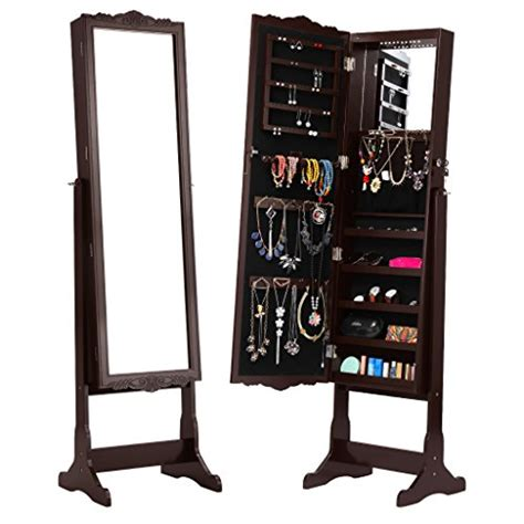 Free Standing Length Mirror Jewelry Armoire by Langria Free Standing Lockable Length Mirrored