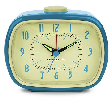 retro alarm clock for bedside table blue battery operated vintage style desk ebay