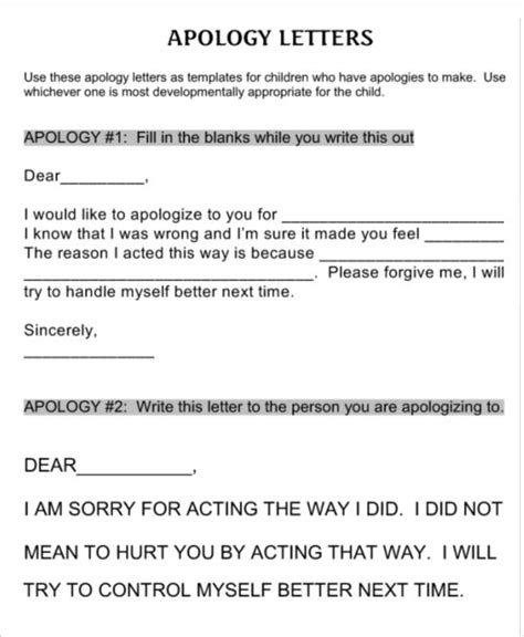Apology Letter To From Child 7 Letter Templates For Free Word Pdf Documents Free Premium Templates