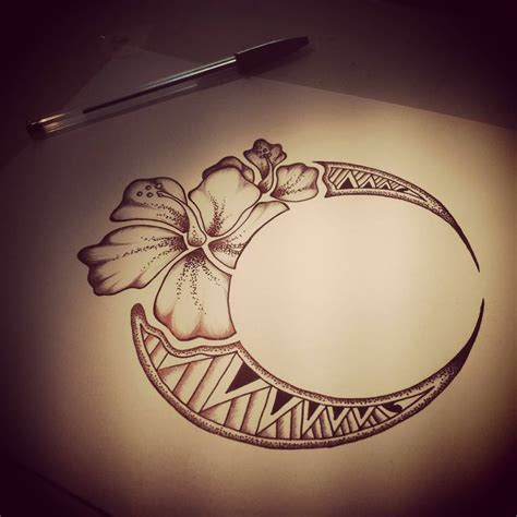 hawaiian flower moon tattoo design tatoos pinterest