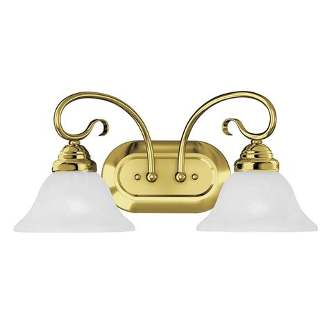 Polished Brass Vanity Lights Shop Livex Lighting 2 Light Coronado Polished Brass Bathroom Vanity Light At Lowes