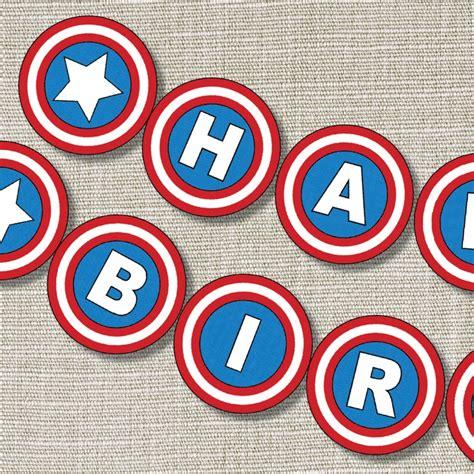 Bunting Flag Happy Birthday Banner Hbd Karakter Captain America superhearo birthday banner birthday banner inspired captain america banner