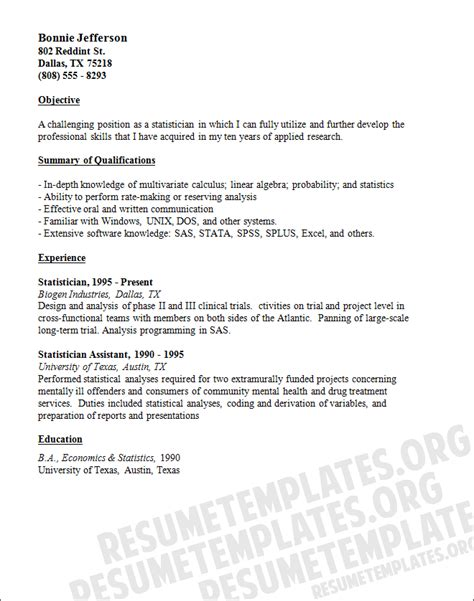 statistician cover letter statistician cover letter sle
