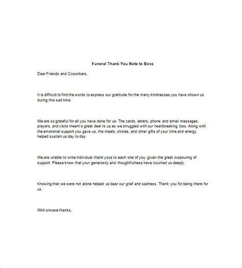 appreciation letter after a funeral 8 funeral thank you notes free sle exle format