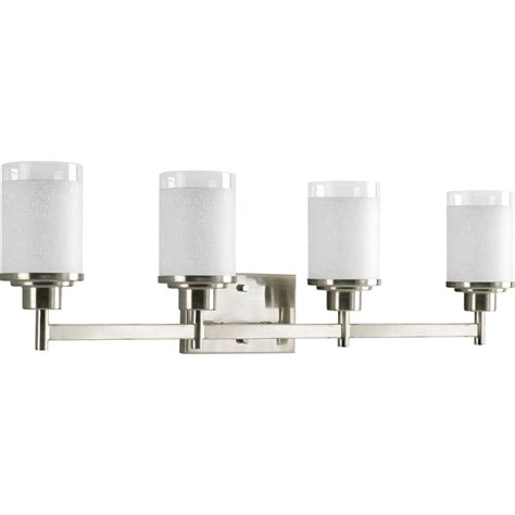 Shop Progress Lighting Alexa 4 Light 9 5 In Brushed Nickel Four Light Bathroom Fixture