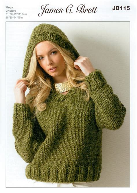 knitting pattern jumper with hood ladies hooded sweater jb115 knitting pattern rustic mega