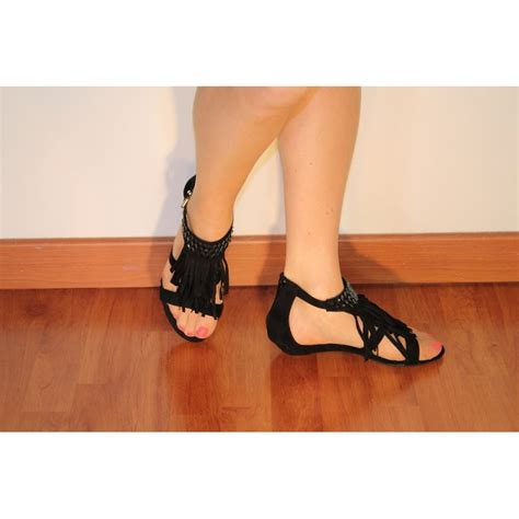 Wedges Karet 3 Cm wedge sandals black aspect suede small heel 3cm with fringe and rhinestones chaussmoi