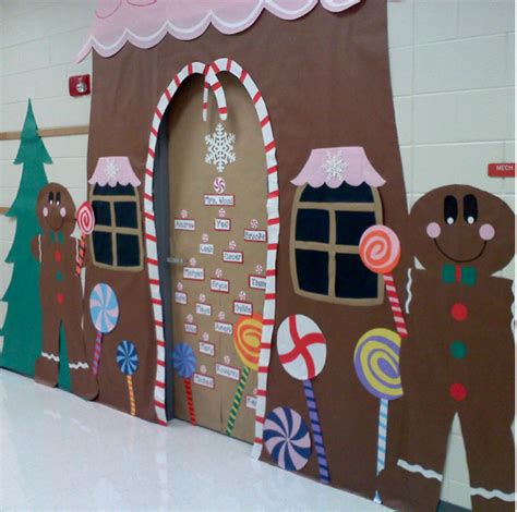 no witches in this candy house gingerbread classroom door