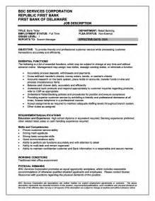 Responsibilities For Resume by Bank Teller Description For Resume Resumes Design