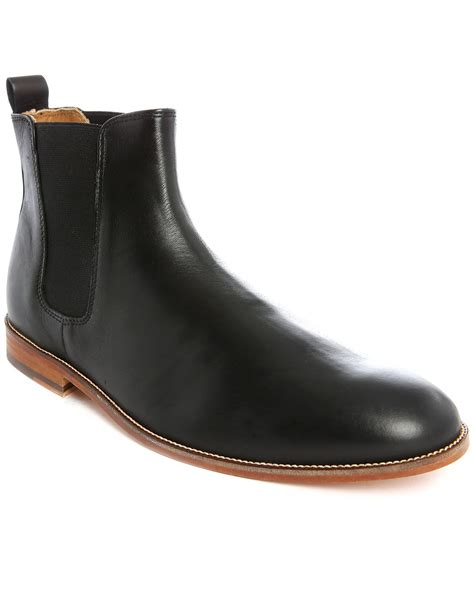 black leather chelsea boots bobbies l horloger black leather chelsea boots in black