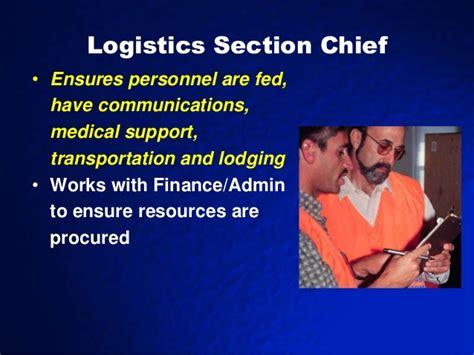 logistics section chief sems nims ics 2012 2