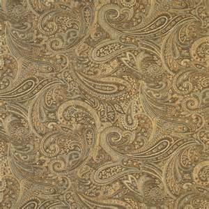 Brocade Upholstery Fabric Brown Gold And Blue Paisley Contemporary Upholstery Grade