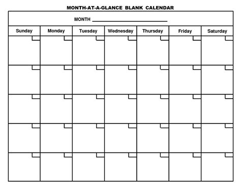 2017 Blank Monthly Calendar Template
