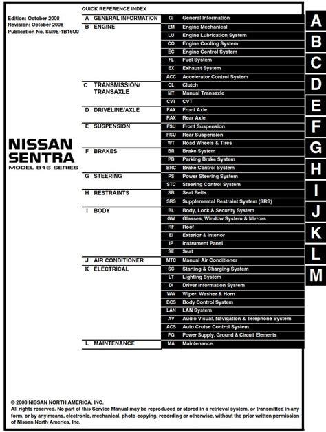 Nissan Sentra Model B16 Series 2009 Service Manual Pdf