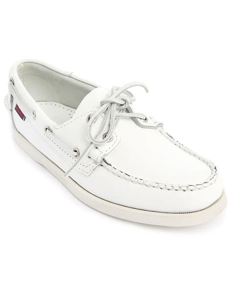 sebago dockside white leather boat shoes for lyst