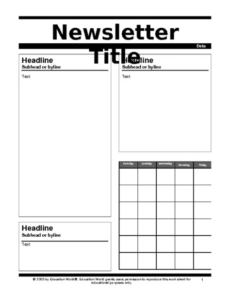 education world newsletter templates education world newsletter 1 template