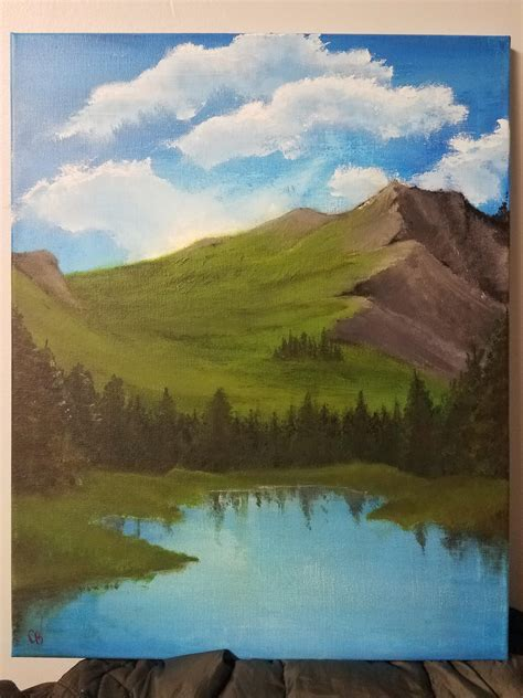 bob ross painting mountain ridge my bob ross paining mountain ridge lake acrylic
