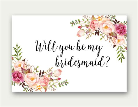 Bridesmaid Card Template Free will you be my bridesmaid printable bridesmaid card