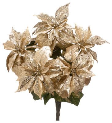 silk plants direct glitter metallic poinsettia bush pack
