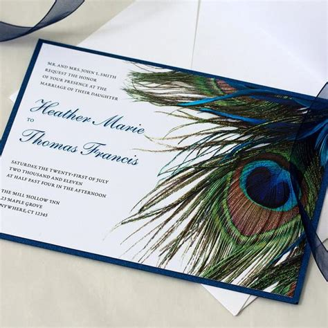 blue peacock wedding invitation feather by willowglenstationery