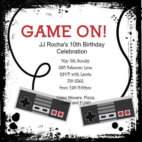 Video Game Controllers Kids Birthday Invitation By Purpletrail Com Parties Pinterest Gaming Invitation Template
