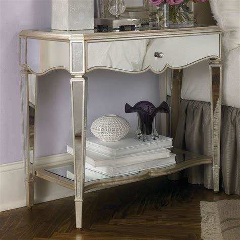 mirrored night stands bedroom jessica mcclintock mirrored nightstand