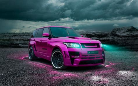 Pink Range Rover Modified Hd 1080p Wallpaper Background