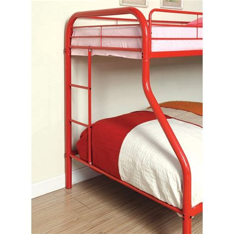 red bunk beds furniture of america capelli twin over full metal bunk bed