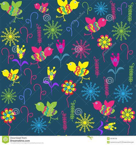 cute seamless pattern wallpaper cute seamless pattern with cartoon bird and flower stock