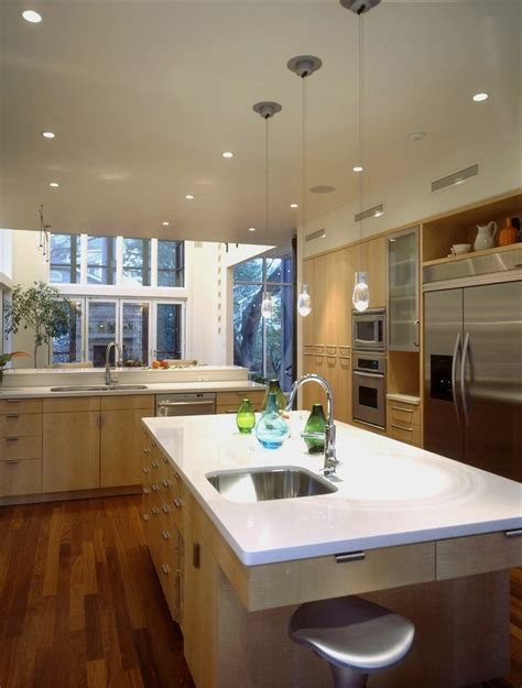 Light Maple Kitchen Light Maple Kitchen Cabinets Kitchen Contemporary With Breakfast Bar Ceiling Lighting