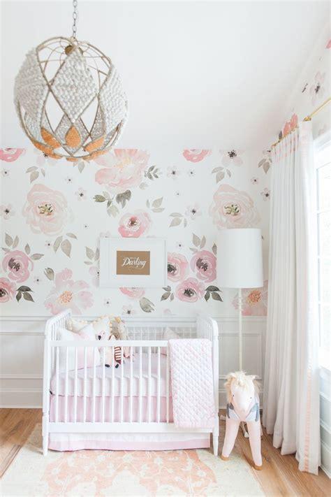 girly nursery wallpaper in the nursery with monika hibbs floral nursery girly