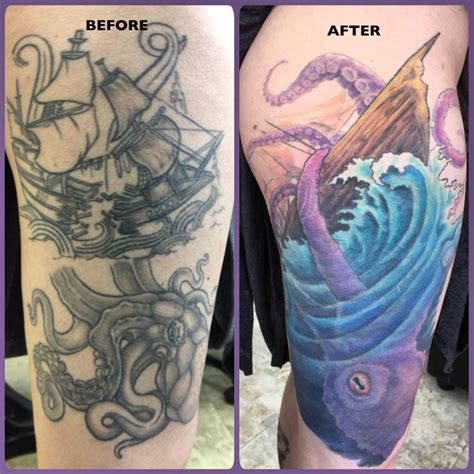 thigh cover up tattoos a before and after of the cover up of a pirate ship
