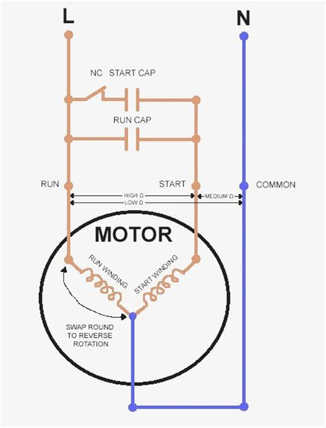 motor wiring diagram single phase with capacitor wiring